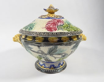 Antique French Majolica Soup Tureen with Vegetable Decoration