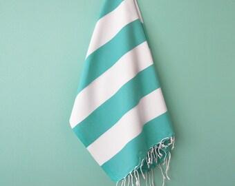 SALE 50 OFF/ Turkish Beach Bath Towel / Classic Peshtemal / Green Turquoise / Wedding Gift, Spa, Swim, Pool Towels and Pareo