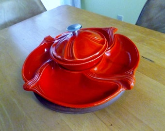 Vintage Lazy Susan Relish set, California pottery, Red serving set