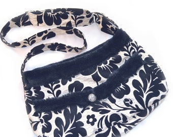 Dog Carrier | Small Dog | Dog Bag | Dog Carrier Messenger | Dog Carrier Purse | Dog Carrier Tote | Black and Ivory