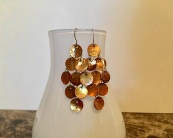 Golden Bronze Mussel Shell Mermaid Earrings