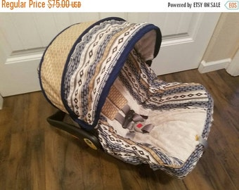 SALE SHIPS NOW - Aztec with arrow accents and arrow embossed minky baby car seat cover Chicco/Evenflo seats (Slipcover,canopy/strap covers)