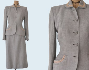 1940s Tailored Grey Wool Suit Set size S