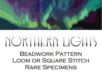 Northern Lights Beadwork Pattern for Loom or Square Stitch - Cuff Bracelet - Bookmark - Beaded Tapestry - Hat Band - PDF instant download