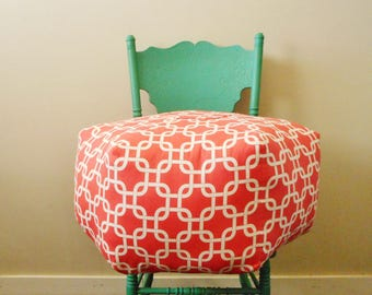 Large pouf / Coral Fabric / Foot Stool / Large Floor Pillow /  Pouf Ottoman / Pouffe / Pouf Pillow / Decorative Pillow / Pouf Stool / Round