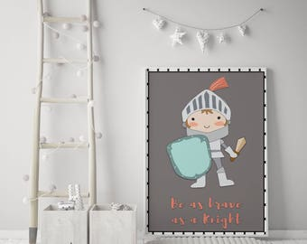 Knight Print | children's prints | Individual Print | Boys Wall Art | Kids wall art | Knight wall art | Dragon Wall art | Knight 1