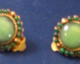Vintage Green Circle Clip On Earrings, 1960s
