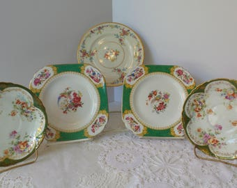 Vintage FLORAL PLATE SET, Mismatched Plate Collection, Vintage Floral Plates, Farmhouse kitchen plates, China Plate set