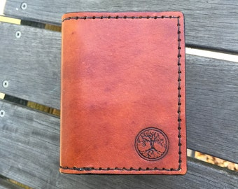 Leather Trifold Wallet - Hand Tooled Leather Wallet - Tree of Life Wallet - Leather Wallet