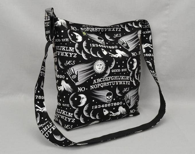 Ouija Board Large Crossbody Bag with Pockets, Black and White, Fabric with Canvas Liner