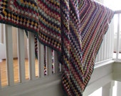Granny Square Afghan , Hand Crocheted Blanket , Colorful Vintage Throw , Home Decor Accent, Farmhouse Cabin Boho Chic Decor