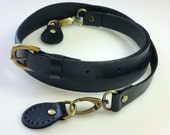 Leather Bag Strap with Sew On Tabs - Black (Brass Fittings) 19mm/0.75""