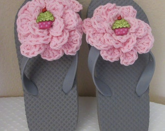 Girl's Flip Flops, Gray  Flip Flops, Size Small 11 - 12, Flower Flip Flops, Cup Cake Flip Flops, Beach Shoes