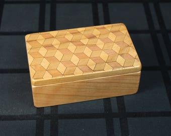 Cube Pattern Wooden Storage Box 5-3/8 x 3-3/8, SB1 Cube, Solid Cherry -Laser Engraved, Paul Szewc, Masterpiece Laser