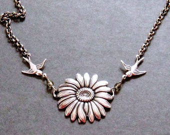 Daisy Necklace, Silver Flower Necklace, Silver Flower and Love Bird Necklace