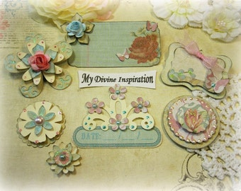 Shabby Chic Beige Ivory Pink and Light Blue Paper Embellishments and Paper Flowers for Scrapbook Layouts Cards Mini Albums and Paper Crafts