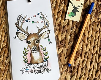 Deer Child Imitate Me Midori Dashboard with Pocket Original Watercolor Art Print - Traveler's Notebook