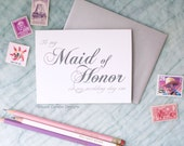 To My Maid of Honor On My Wedding Day Eve Card | Classic Script | Timeless and Charming way to say thank you for bring in my wedding party