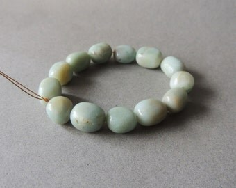 Amazonite, Pale Blue, Smooth Nugget Beads, 13 Beads, 15mm by 10mm, Average Size