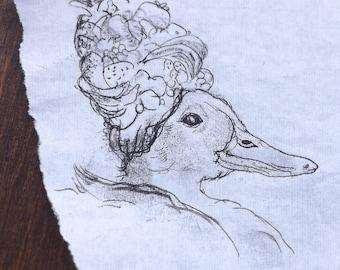 Carmen Miranduck - Original Monoprint - OOAK