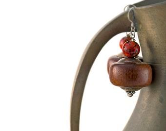 Beaded Wood Earrings • Lampwork Glass Earrings • Sterling Silver Bohemian Earrings • Art Glass Dangle Earrings • Hippie Boho Jewelry