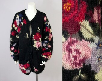 90s Vintage Floral Embroidered Black Mohair Wool Cardigan Sweater (L)