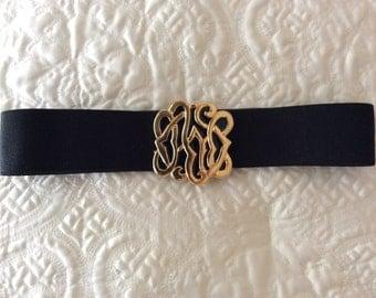 Classy black Stretch Belt Nan Lewis Buckle Elastic cinch belt