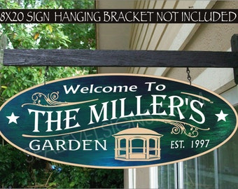 GAZEBO Garden Family Name Address Name Gift Aluminum Custom Personalized Sign