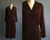 Vintage 1940's Brown Beaded Long Sleeved Dress/ Women's Large / Feminine Romantic Flapper