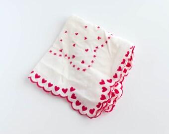 Red Heart Handkerchief Hankerchief Hankie Valentine  Shabby Decor Cottage Decor Holiday