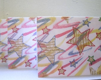 Stars Notelets, Greetings Cards, small Note cards Pack of 3 Blank Cards suitable for many occasions