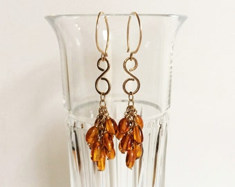 Gold Filigree Baltic Amber Cluster Earrings Delicate Gemstone Dangles Amber Jewelry Yellow Earrings Hammered Wire Jewelry