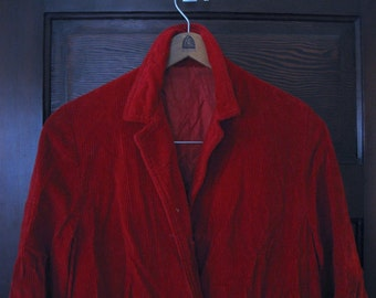 Bright Blood Red Vintage 1960s Corduroy Coat Needs TLC