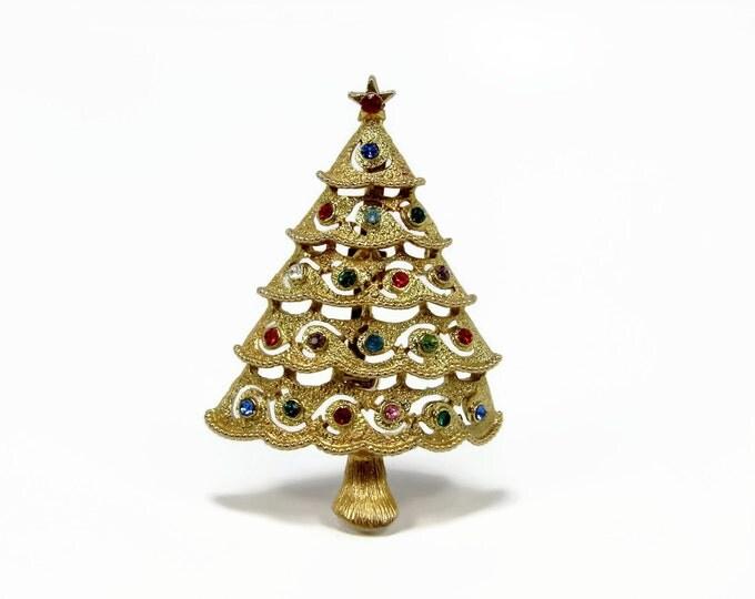 Vintage Rhinestone Christmas Tree Brooch by JJ