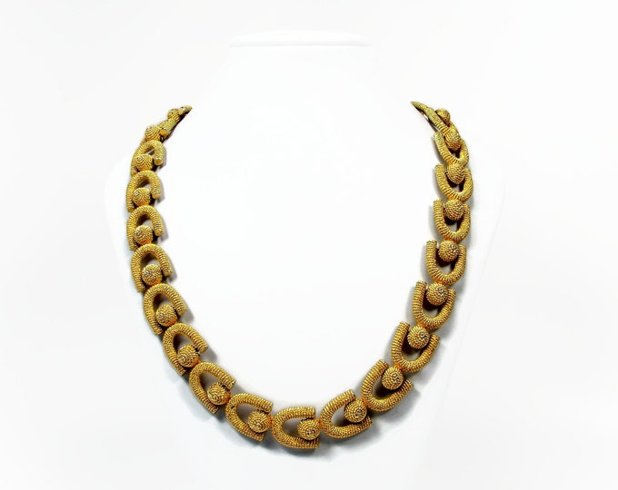 Vintage Matte Textured Gold Tone Necklace Wear to Office