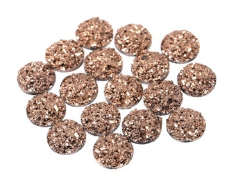 Metallic Gold 12mm Faux Druzy Crystal Clusters Cabochons SMALL Nuggets sfb0323
