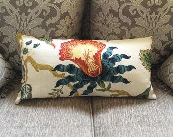Celerie Kemble for Schumacher- Hot House Flowers -Designer Decorative Lumbar Pillow Cover- Throw Pillow- 22x11  ready to ship