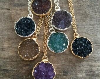 Druzy Necklace, Round Druzy Pendant, YOU CHOOSE, Druzy Jewelry, Drusy Necklace, 14K Gold Fill, Druzy Quartz