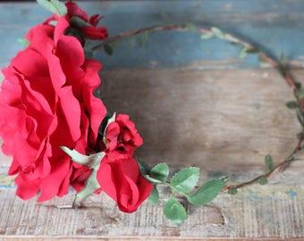 Flower Halo, red rose, crown, wedding, bridal, halo, summer, bride, festival, hair accessory, wreath, beach wedding, destination