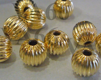 DIY 14K Gold Filled Spacer Corrugated Bali Beads Seamless 4mm 6pcs Jewelry Making Gold Findings Parts Loose beads