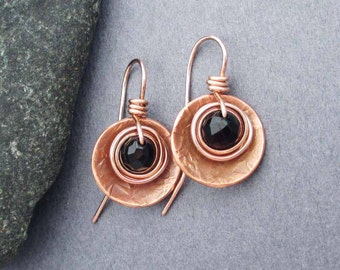 Black Onyx Earrings Copper and 14k Pink Gold Filled Earrings Rustic Natural Earthy Artisan Handmade Jewelry