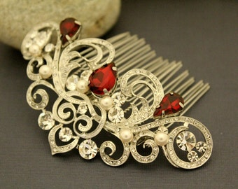 Bridal hair accessories,Bridal Hair Comb,Ruby Hair Comb,Ivory Pearl Wedding Comb,Bridal Hair Clip,Wedding Hair Accessories Red bridal comb