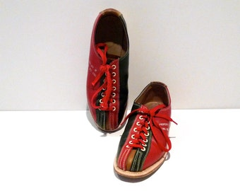 Bowling Shoes Vintage Brunswick Red Green and Gold Color Block Flats Leather Rockabilly Size Womens 7 Property of Bowling Alley Rec Center
