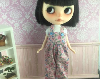 Blythe Overalls - Pink with Blue Flowers