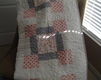 "Malaga Cover- 54"" x 75"" - Coral/Light Grey/Cream - Cloud 9 Febric/Cotton & Steel/Grunge -Contemporary Quilt - Ready to Quilt"