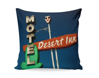 READY TO SHIP | Desert Inn 20x20 Pillow Cover | Motel Sign Pillow | Neon Sign Pillow Cover | Mid Century Pillow | Decorative Pillow Cover