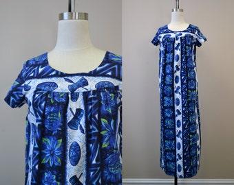 1960s Ui-Maikai Blue Hawaiian Muu Muu