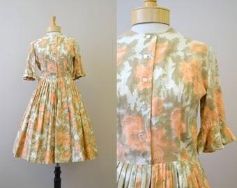 1960s Peach Floral Dress