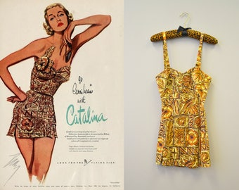 "1951 Catalina ""Tapa Sheath"" Swimsuit"