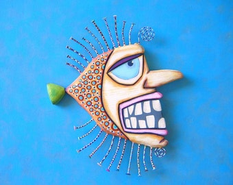 Frankenfish, Original Found Object Wall Sculpture, Wood Carving, Wall Decor, Fish Art, by Fig Jam Studio